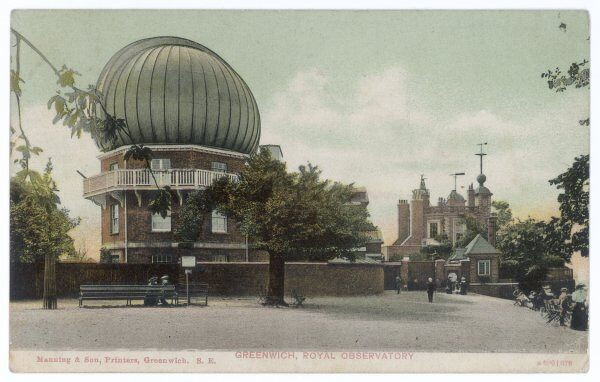 Greenwich Royal Observatory, with its' dome to the forefront of the postcard