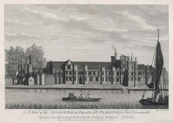 GREENWICH PALACE, named by Henry VI 'PLACENTIA' (pleasant place) ; later it was a biscuit factory, demolished by Wren 1694 to make way for the Royal Naval Hospital