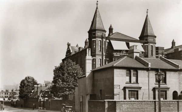Part of the infirmary at the Greenwich Union workhouse at Vanbrugh Hill, south east London. A sign on the front of the nearmost building reads Calvert Road. The infirmary was opened in 1876 and enlarged a decade later. The site later became known as Greenwich