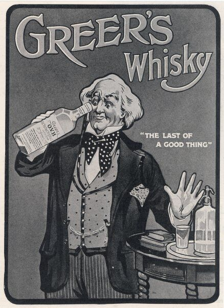 A man peers into a bottle of Greer's Whisky, claimed to be 'The last Good Thing&#39