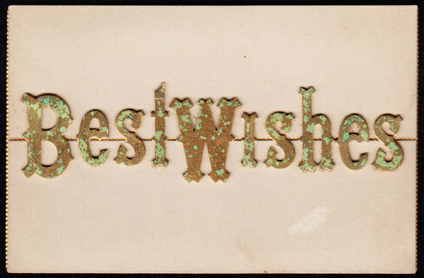 Greetings card with the words Best Wishes in mottled green and brown ...