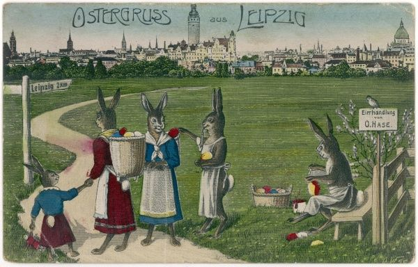 Bunnies take a load of easter eggs to the Leipzig market