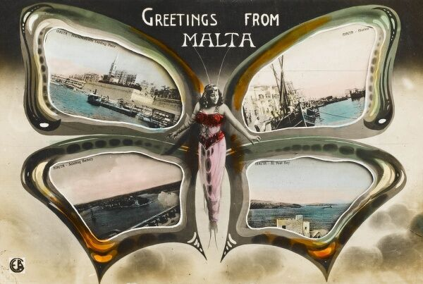 A Greetings card from Malta, depicting a glamorous woman as the carapace of a beautiful butterfly, the wings extended wide to reveal scenes of places on the Island: The landing place at Marsamuscetto, a Marina, the Saluting Battery at Valetta