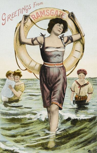 A jolly souvenir postcard from the Kent seaside resort of Ramsgate, depicting a pretty lady bather in the shallow waters edge, holding aloft a lifebelt. Her attire would have been deemed rather racy at the time