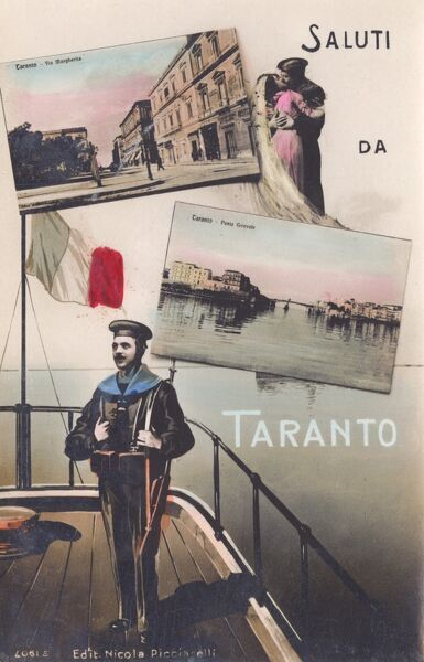 A Greetings postcard from Taranto, Italy, featuring the Girevole Bridge (a famous swing bridge built in 1887) and the Via Margherita. Date: circa 1920s