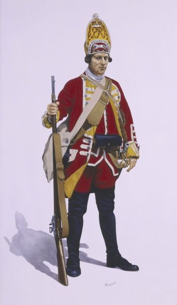 A Grenadier of the 12th Regiment of Foot, 1756 - 63. The Suffolk Regiment. Painting by Malcolm Greensmith