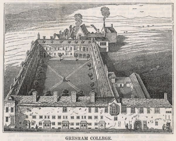 Gresham College, founded by Sir Thomas Gresham: aerial view