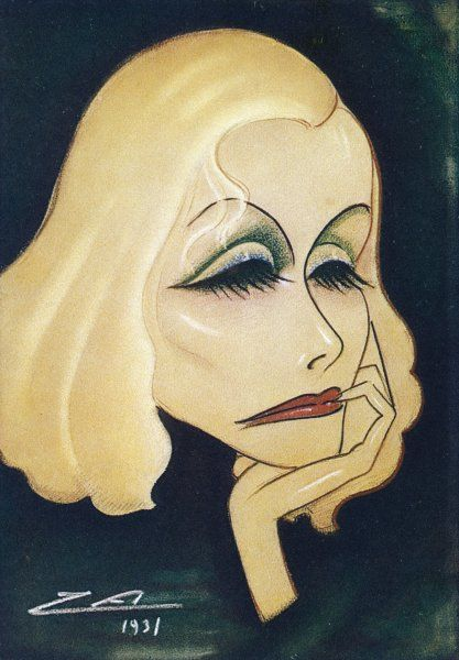 GRETA GARBO Swedish-American film actress: a caricature