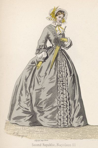 1882 depiction of 1840s fashions: dress en redingote in grey with white under sleeves (engageantes). A white bonnet adorned with golden ears of wheat is also worn