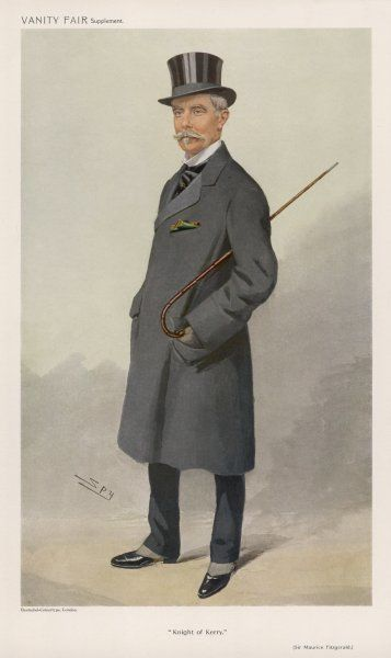Sir Maurice Fitzgerald, 20th Knight of Kerry, 2nd Baronet of Valencia, (1844-1916) wears a grey top frock coat over narrow black trousers, a top hat, black cravat with tie pin & black boots with spats or possibly half boots&quot