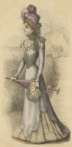 Pale grey dress with an irregular shaped tunic, machine over-stitching, gauged yoke & white lace under-skirt. Her parasol is also trimmed with a lace flounce