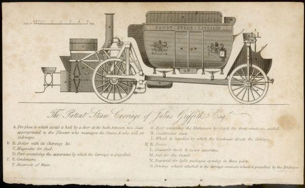 The patent steam carriage of Julius Griffith, a road locomotive which was effective in practise, but had little success due to a backlash from the horse-powered lobby