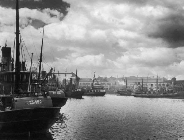 No 2 Fish Dock, full of fishing boats, Grimsby, Lincolnshire, England