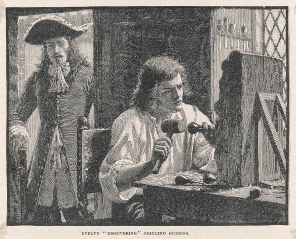 GRINLING GIBBONS English woodcarver and sculptor, with John Evelyn at the door, about to 'discover' him