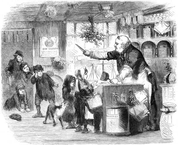 A Manchester grocer deals brusquely with some juvenile customers on New Year's Day Date: 1857