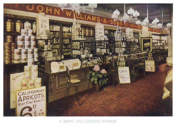 The interior of an Edwardian grocery - John Williams' well-stocked establishment offers seats to his customers while they place their orders