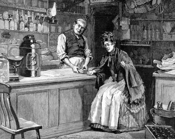 Engraving to accompany a story in the Graphic ('Madame Leroux'), showing a typical interior of a grocer's shop during the late 19th century