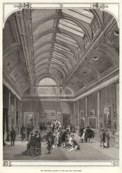 Engraving showing the interior of the Grosvenor Gallery of Fine Art, New Bond Street, London, 1877