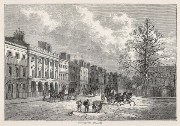 A relatively active view of Grosvenor Square with carriages rushing to new destinations and stopping to pick up important passengers