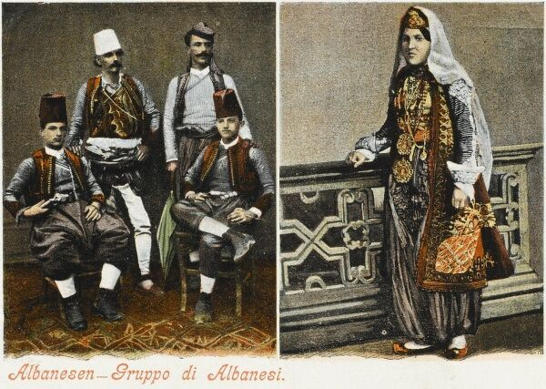 Group of Albanians and Woman in traditional costume