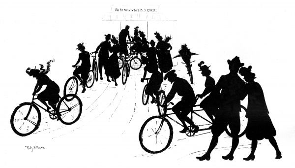A silhouette showing a group of cyclists in the Bois de Boulogne, France Date: 1898
