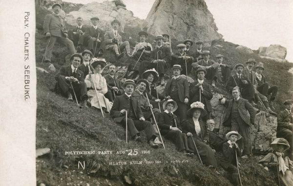 A group of people described as a Polytechnic Party, enjoying a day out on Mount Pilatus, Switzerland. Date: August 1908