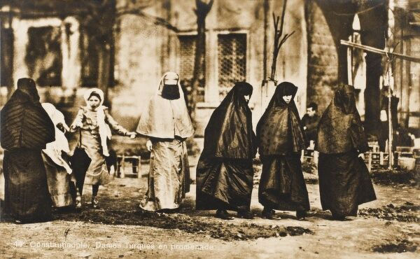 A Group of Turkish Women walking in Constantinople, Turkey