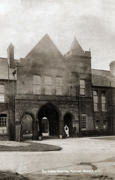 Administration block of the Grove Hospital, Tooting Grove, south west London (originally in Surrey), one of five new hospitals opened by the Metropolitan Asylums Board in the 1890s for the treatment of infectious diseases such as scarlet fever and diphtheria