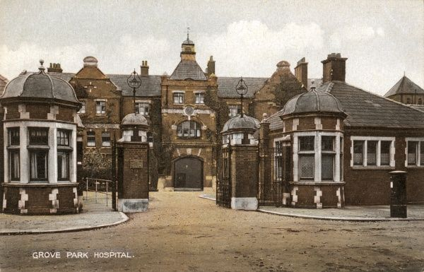 Entrance to the Grove Park Hospital, Marvels Lane, Lewisham, south east London. The buildings, designed by T & J Norman Dinwiddy, were originally erected in 1899-1902 as a workhouse for the Greenwich Union