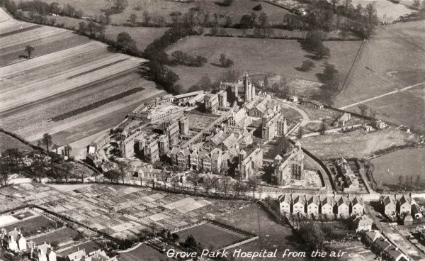Aerial view of the Grove Park Hospital, Marvels Lane, Lewisham, south east London