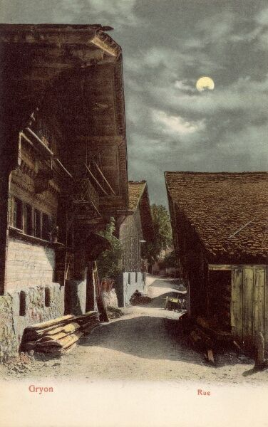 Gryon, Switzerland - A moonlit street. Gryon is a municipality of the canton of Vaud in Switzerland, located in the district of Aigle. Date: circa 1910s