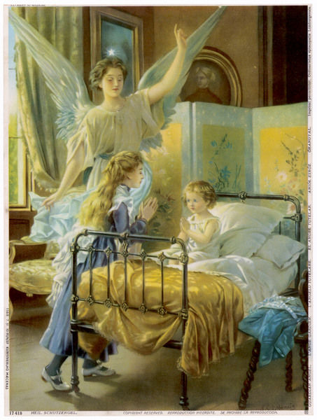 A guardian angel raises an arm in blessing while a girl helps her younger sister to say her evening prayers