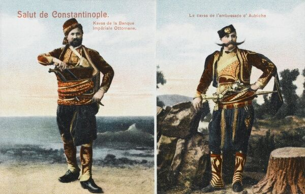 Studio photographic portraits of the guard of the Ottoman Bank and the guard of the Ambassador of Austria in Constantinople, Turkey