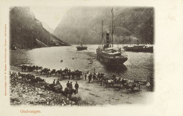 Gudvangen is a village in Aurland municipality in Sogn og Fjordane county, Norway. It is located in inner Naeroyfjord. Date: circa 1900