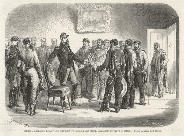 Guerilleros, who have been resisting the French presence in Mexico, surrender to general Negre, commandant superieur