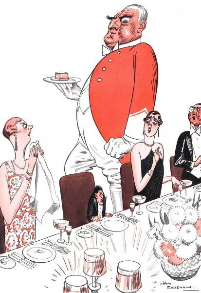Cartoon of a man who has made a social faux-pas at the dinner table. Date: 29th November 1929
