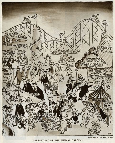 A cartoon depicting Guinea Day at the Festival Gardens, Festival of Britain, with upper class people in their best clothes, taking part in some unlikely (for them) fairground activities. Date: April 1951