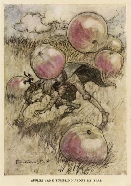 Gulliver & the apples: 'apples came tumbling about my ears'... Date: First published: 1726