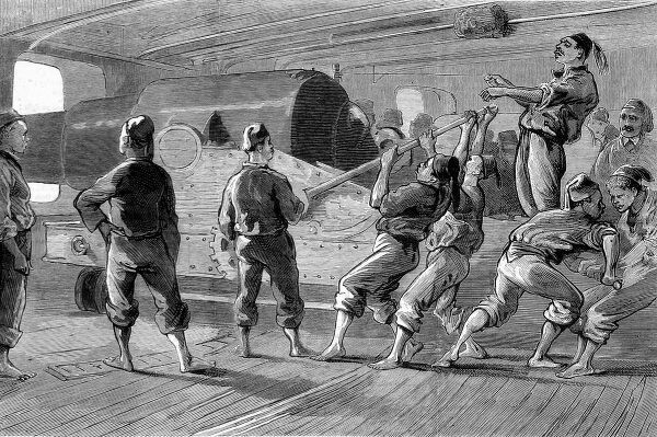 Engraving showing Turkish seamen aiming their gun on board the warship 'Messoudieh', Constantinople, 1876