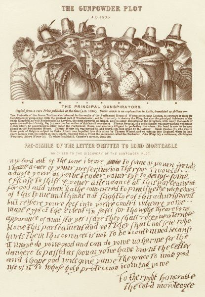 The conspirators and the letter sent to Lord Monteagle which led to their discovery