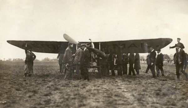 Gustav Hamel's aeroplane ready to leave Hendon Aerodrome for Windsor on the very first airmail flight. The first aerial mail service took place on 9 September 1911 from Hendon to Windsor and back again, and Hamel was the first pilot to arrive