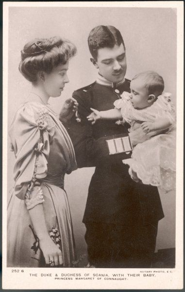 GUSTAV VI as Duke of Scania King of Sweden (1950-73) with his first wife Margaret of Connaught (1882-1920) and their baby