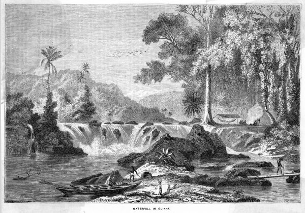 River scene with waterfall