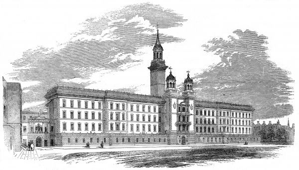 A sketch showing the new building at Guy's Hospital in 1852. Guy's Hospital founded in 1721 by Thomas Guy, on a site near London Bridge. He died four years later but left a large fund for the hospital