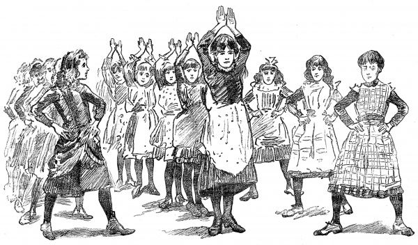 Illustration showing three lines of girls undertaking a gym drill at the Polytechnic Christian Institute, London, 1888