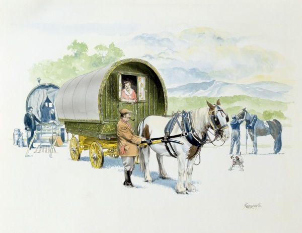 A group of travellers and their horse-drawn caravans/wagons. Painting by Malcolm Greensmith