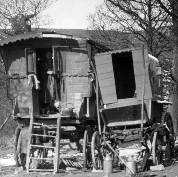Two traditional style caravans at a gypsy encampment near Pontypool, South Wales