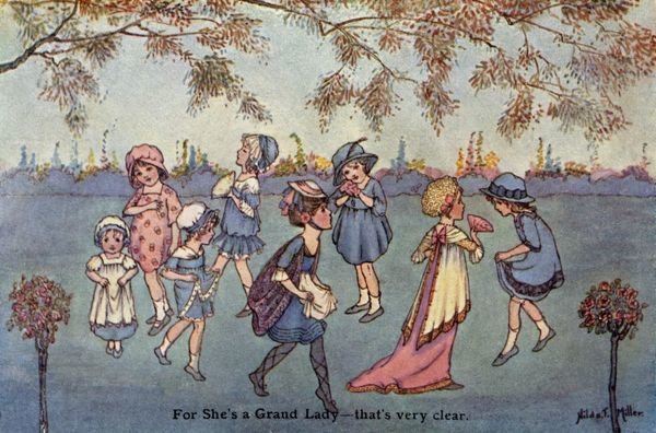 For she's a grand lady -- that's very clear. Children playing a game in a garden.  20th century