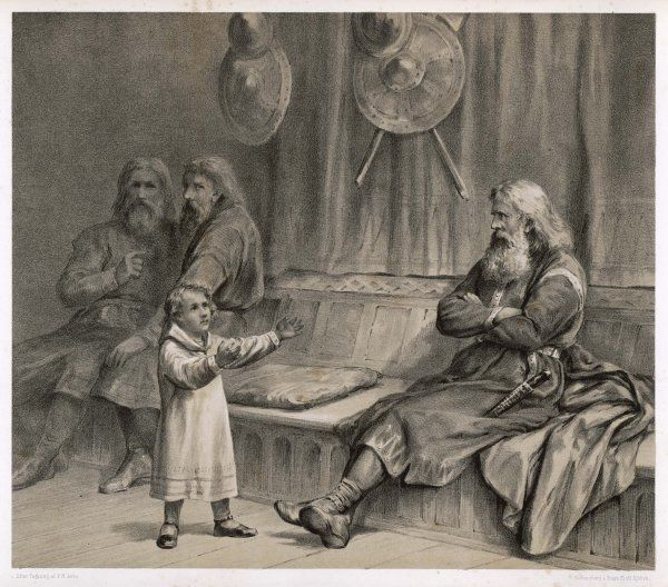 The 8 year old Haakon (later Haakon IV) reassures the retainer Helge that although his patrimony has been doubted, God, Mary & St Olaf will back his claim