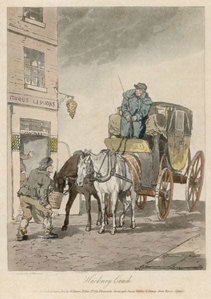 A Hackney coach stops at a liquor store for the horse team to receive refreshment